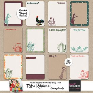 Retro Kitchen Free Journaling Card set for project life