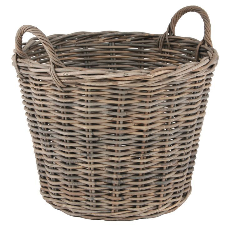 This Beautiful Basket Is Crafted From Natural Grey Kubu With A Traditional Woven Effect Place It By The Fire For A Cosy Win Log Baskets Wicker Storage Baskets