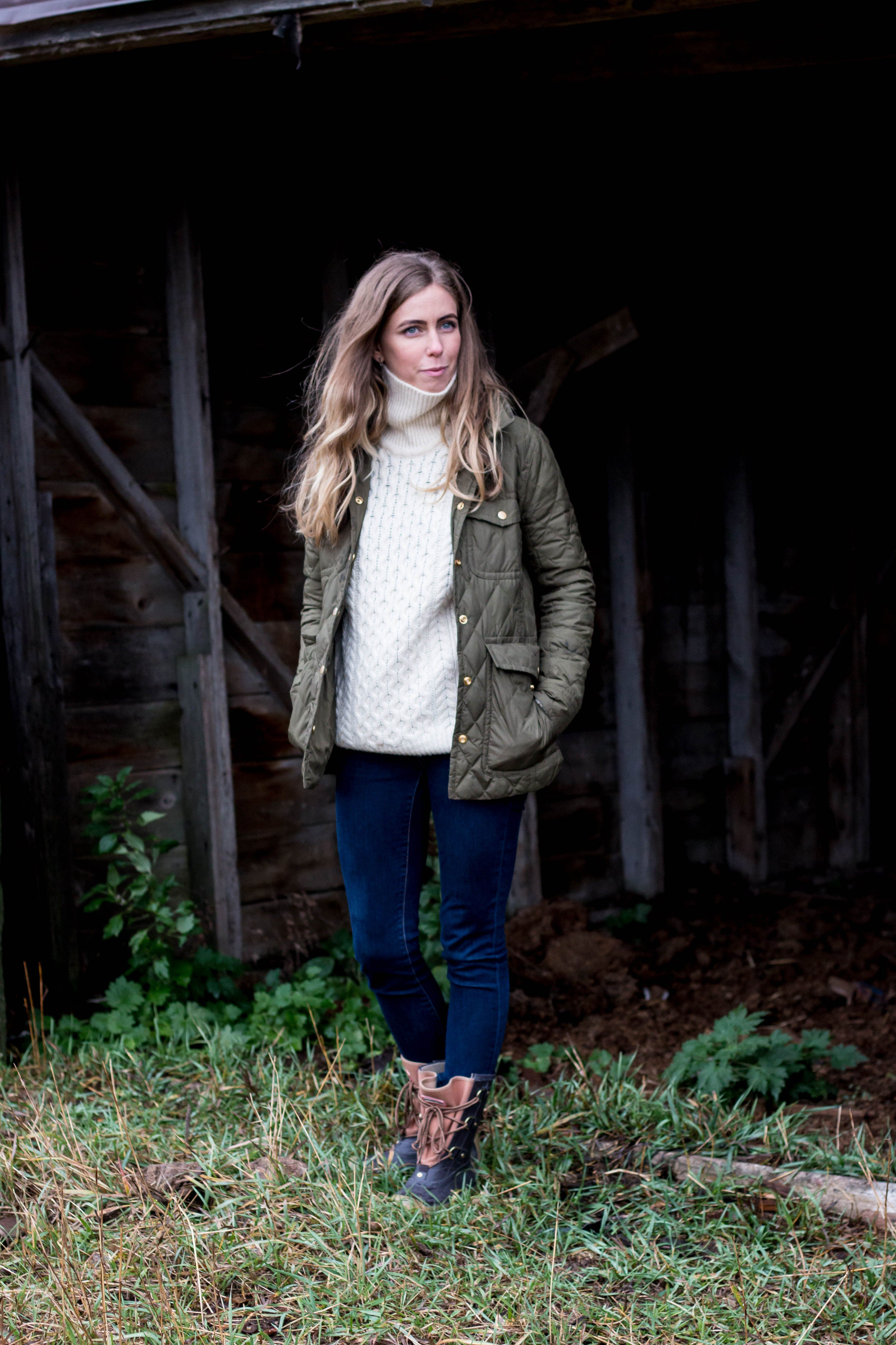 warm irish sweater, hunter boots