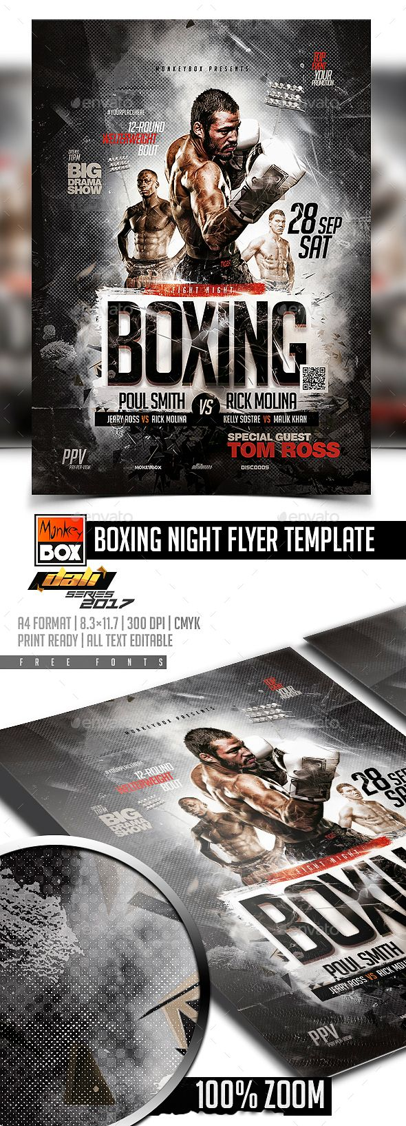 boxing night flyer template pinterest flyer template template