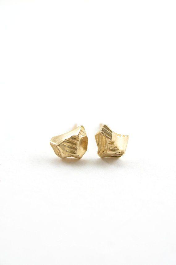 Gold Tiny Meteorite 14 Karat Stud Earrings By Sharonzimmerman