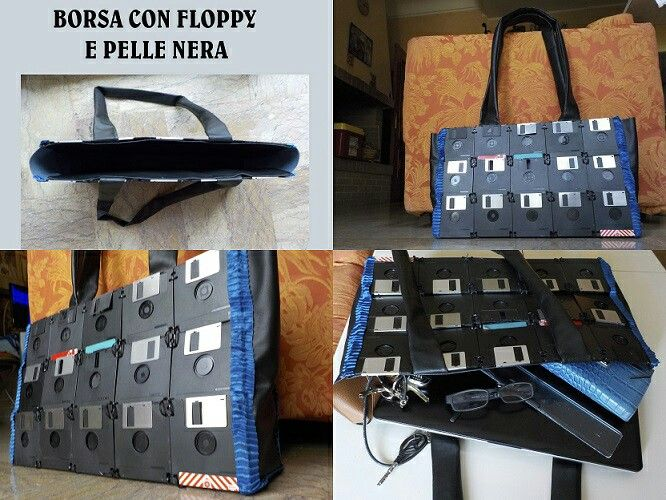 Borsa realizzata con floppy disk, rivestita con simil pelle nera all'interno. #bag #borsa #riciclo #recycleidea #recycle #recycling #floppy #disk