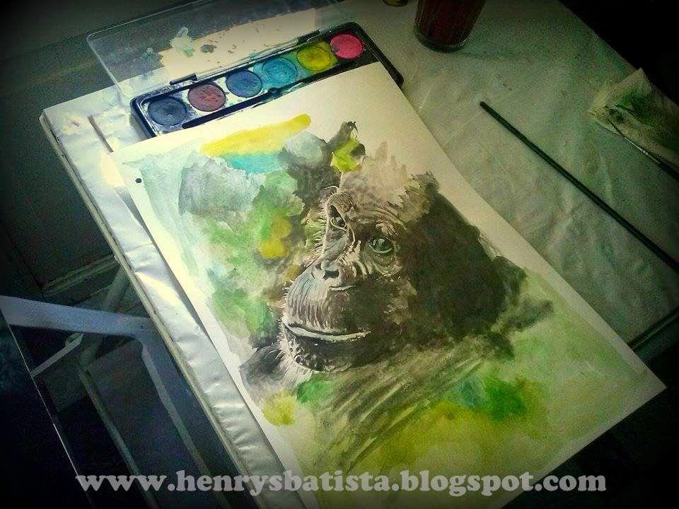 Mono, mona, gorila, acuarela, selva, NatGeo. | Obras realizadas por ...
