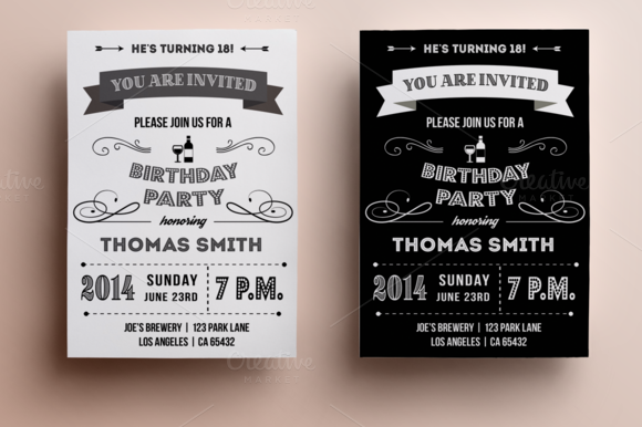 Retro Birthday Invitation By Annago On Creative Market - Retro birthday invitation template