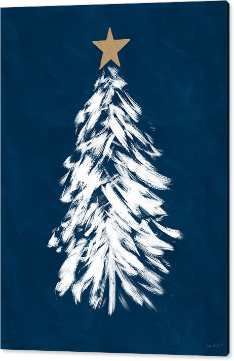 Navy And White Christmas Tree 3 Art By Linda Woods Canvas Print Canvas Art By Linda Woods Christmas Tree Painting Blue Christmas Decor Gold Christmas Decorations