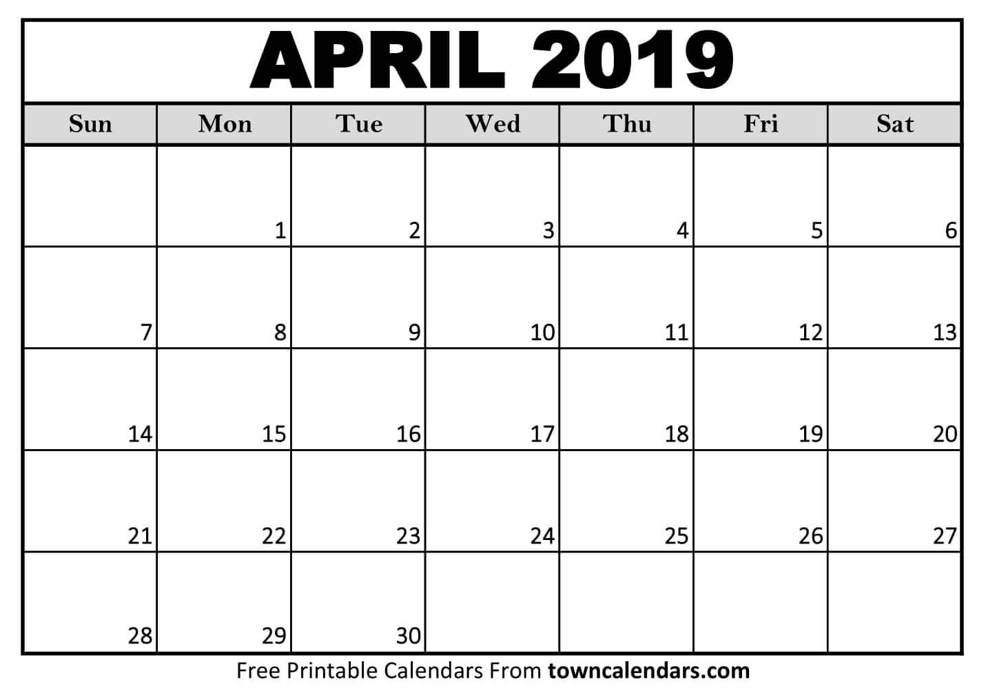 picture about Printable April identified as Blank April Calendar 2019 April 2019 Calendar Printable