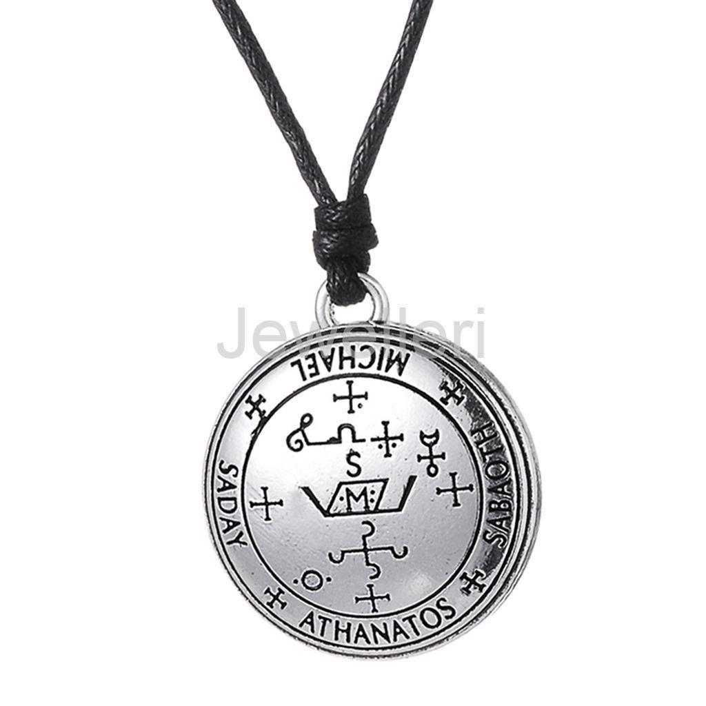 Sigil of Archangel Michael Saday Athanatos Sabaoth  Gothic Necklace