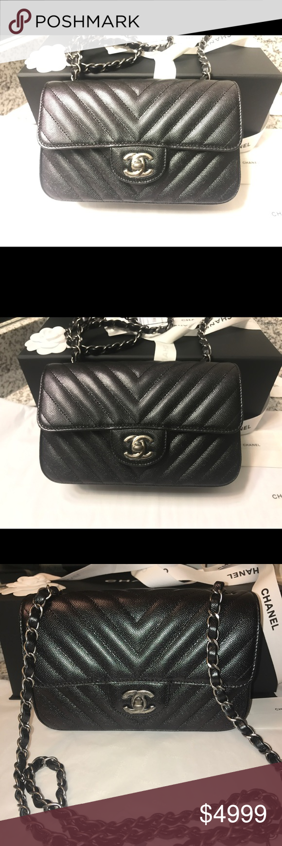 2761563baf73 NEW 17B Iridescent mini flap Authentic CHANEL iridescent black caviar  leather chevron mini classic flap bag