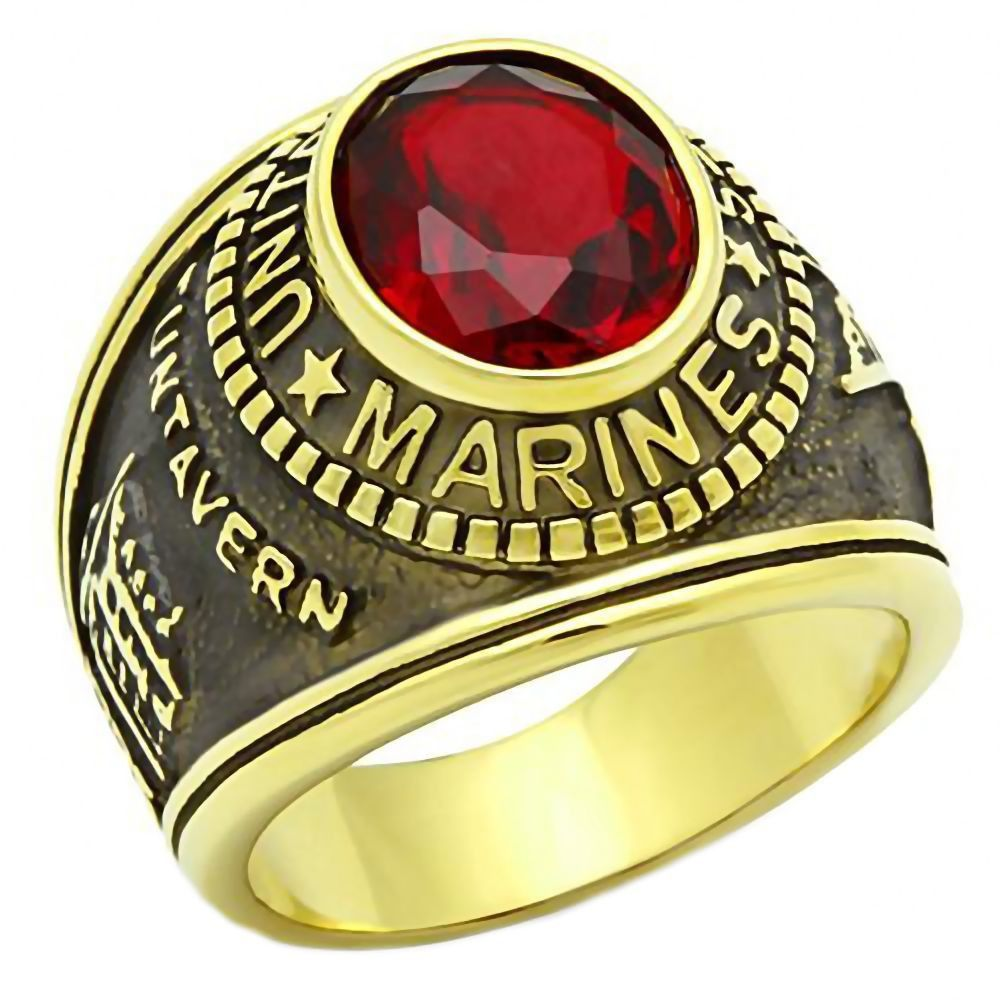 Marines G Mens US Marine Corps 316L Steel Ring and IP 14K