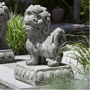 Left Facing Foo Dog Statue Asian Garden Sculptures Patio Pool