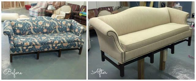 Craigslist Sofa Makeover, Reupholster, Camelback Chippendale Sofa