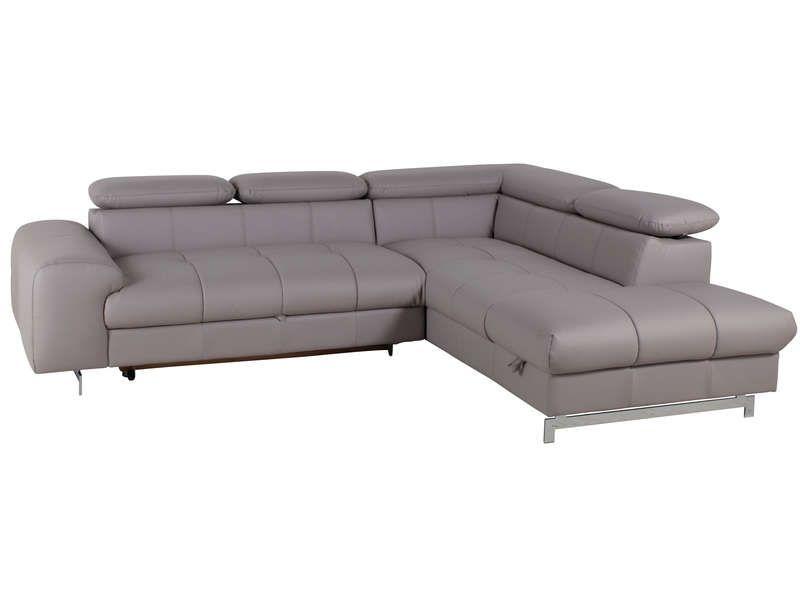Canapé du0027angle droit convertible + coffre IRINA coloris gris - Vente - conforama chaises salle a manger