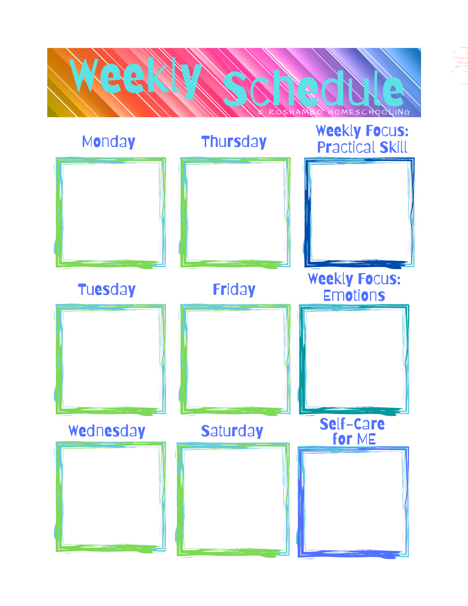 Free Printable Weekly Planner For Homeschooling In