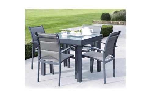 Wilsa Ensemble table et chaises de jardin MODULO 4 PLACES GRIS ...
