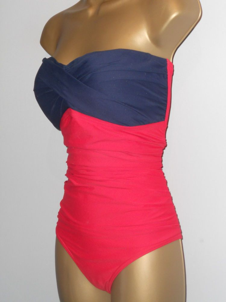 688a9dd7699b3 LADIES RED   NAVY MARKS   SPENCER RUCHED STRAPLESS SWIMSUIT SIZE 18 CONTROL   fashion  clothing  shoes  accessories  womensclothing  swimwear (ebay link)