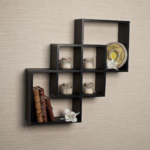 Danya B Intersecting Squares Decorative Black Wall Shelf Mdf