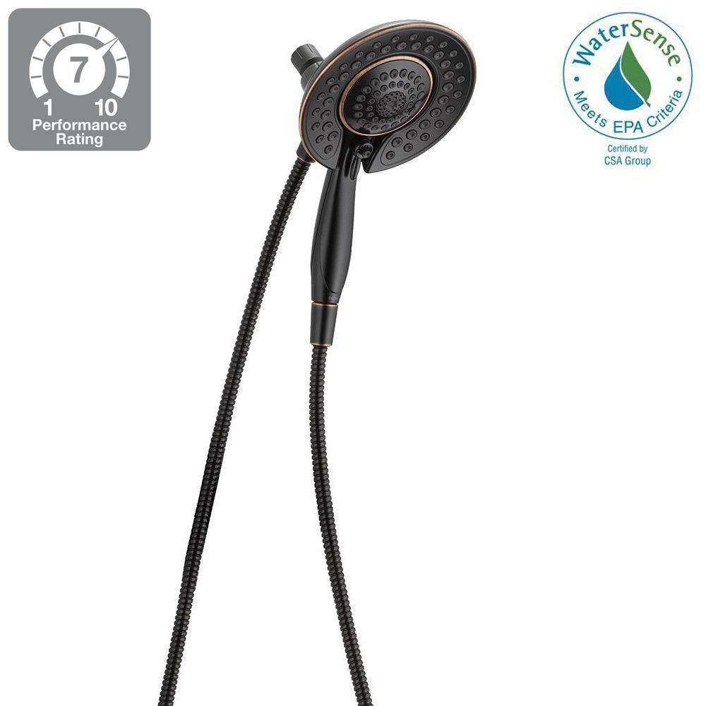 Delta In2ition Two In One 5 Spray 6 8 In Dual Wall Mount Fixed And Handheld Shower Head In Venetian Bronze 75583crb Shower Heads Bathroom Designs Images Delta Shower Heads