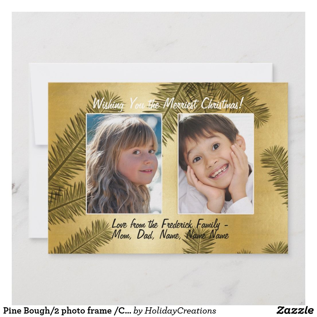 Pine Bough 2 Photo Frame Christmas Holiday Card Instead Of Printing Those One Sided Christmas Pho Christmas Photo Cards Holiday Images Christmas Holiday Cards