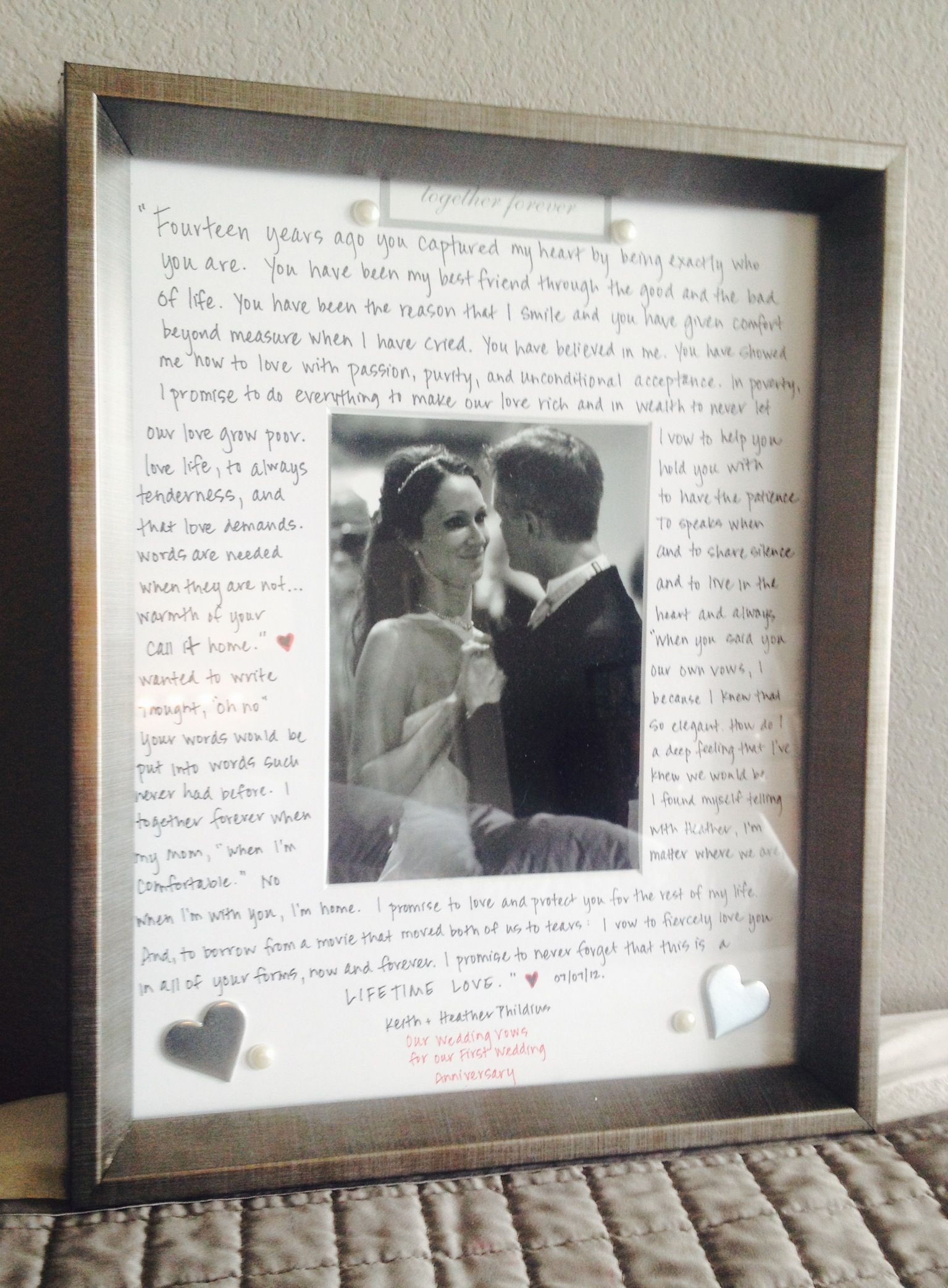 First Wedding Anniversary Gift To My Husband Our Vows Written Out 3