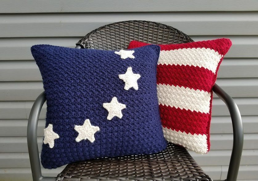 Crochet The Americana Pillow Pattern That Matches The Old Glory