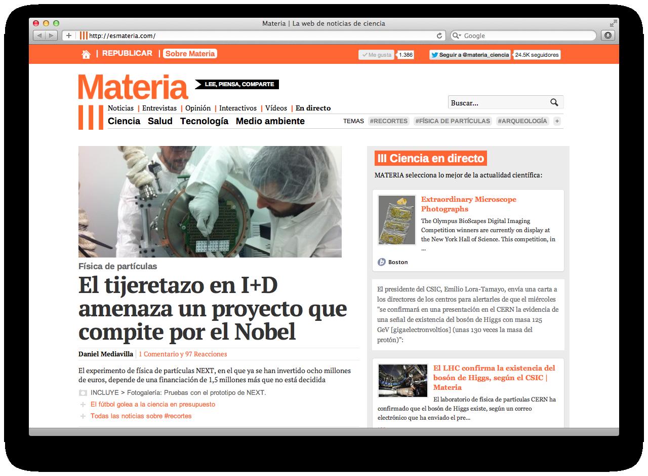 Materia es una web de noticias de ciencia medio ambiente for Noticias actuales del mundo del espectaculo
