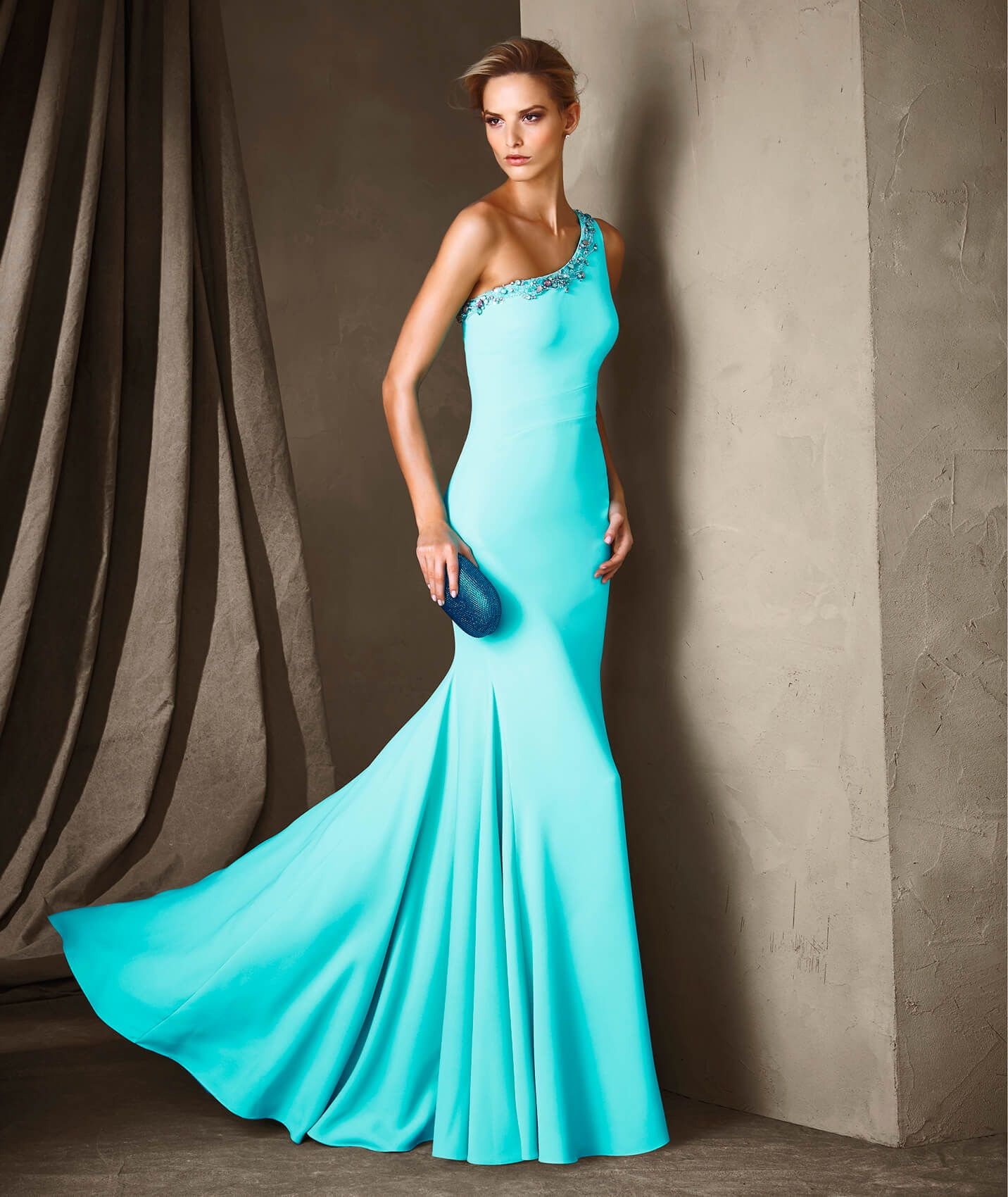 one shoulder fitted mermaid pattern evening dress | fashion dress ...