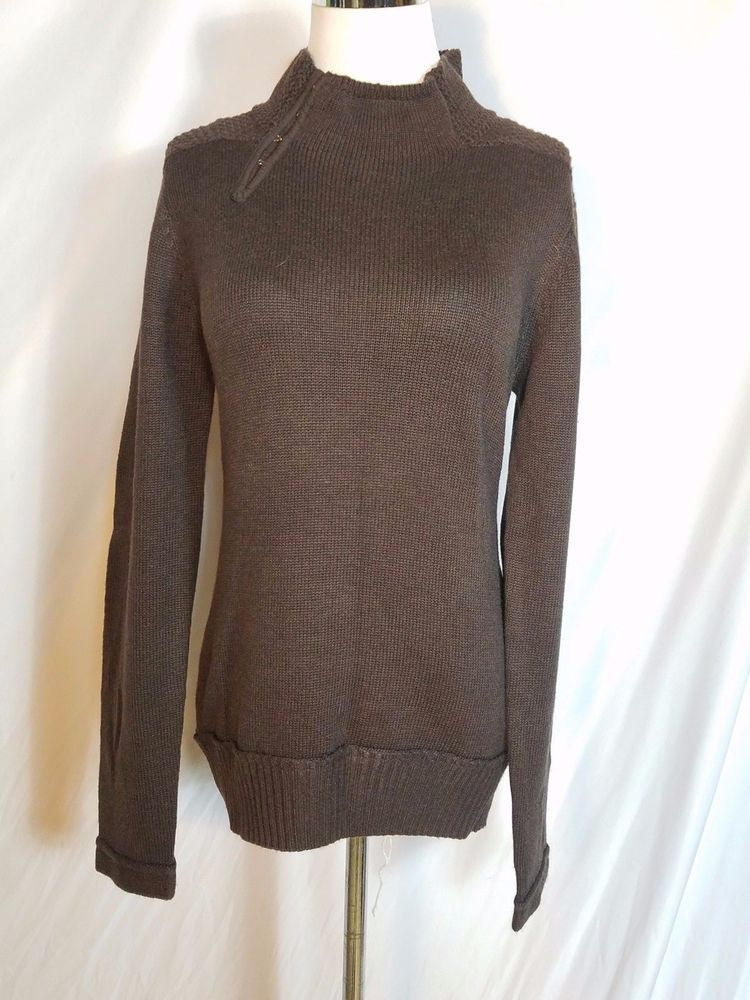 Maboluost women's LG brown funnel hook neck textured sweater #Maboluost #TurtleneckMock #everyday