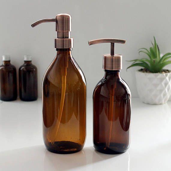 Amber Glass Bottle Soap Dispenser 300ml 500ml With Stainless