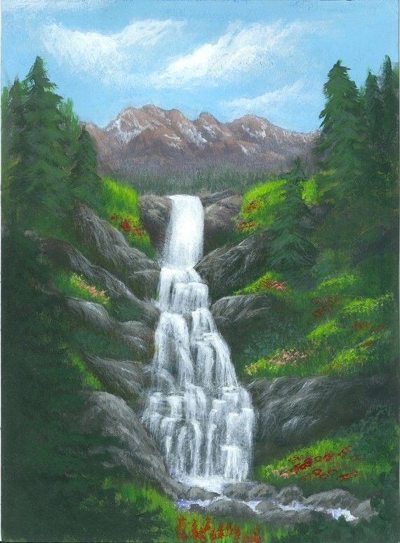 Waterfall Painting Landscape Art Alpine Cascade A Print Of An Original Acrylic Painting To Fit 11x14 Fr Waterfall Paintings Landscape Paintings Landscape Art
