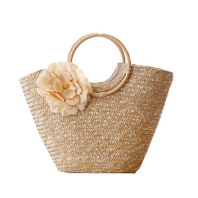 Round Wood Handle Summer Straw Beach Bags Flower Design Shoulder ...