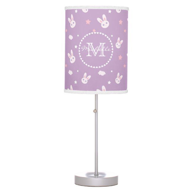 Cute Kawaii Girly Pink Bunny Rabbit Pastel Purple Table Lamp #cute #kawaii #girly #pink #bunny #TableLamp Affiliate