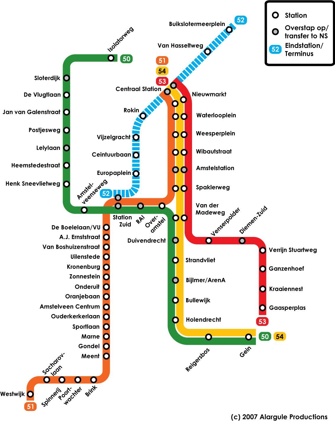 Amsterdam Metro Map   Amsterdam • mappery | Map | Pinterest