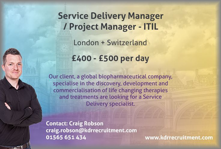 New Job Service Delivery Manager / Project Manager ITIL