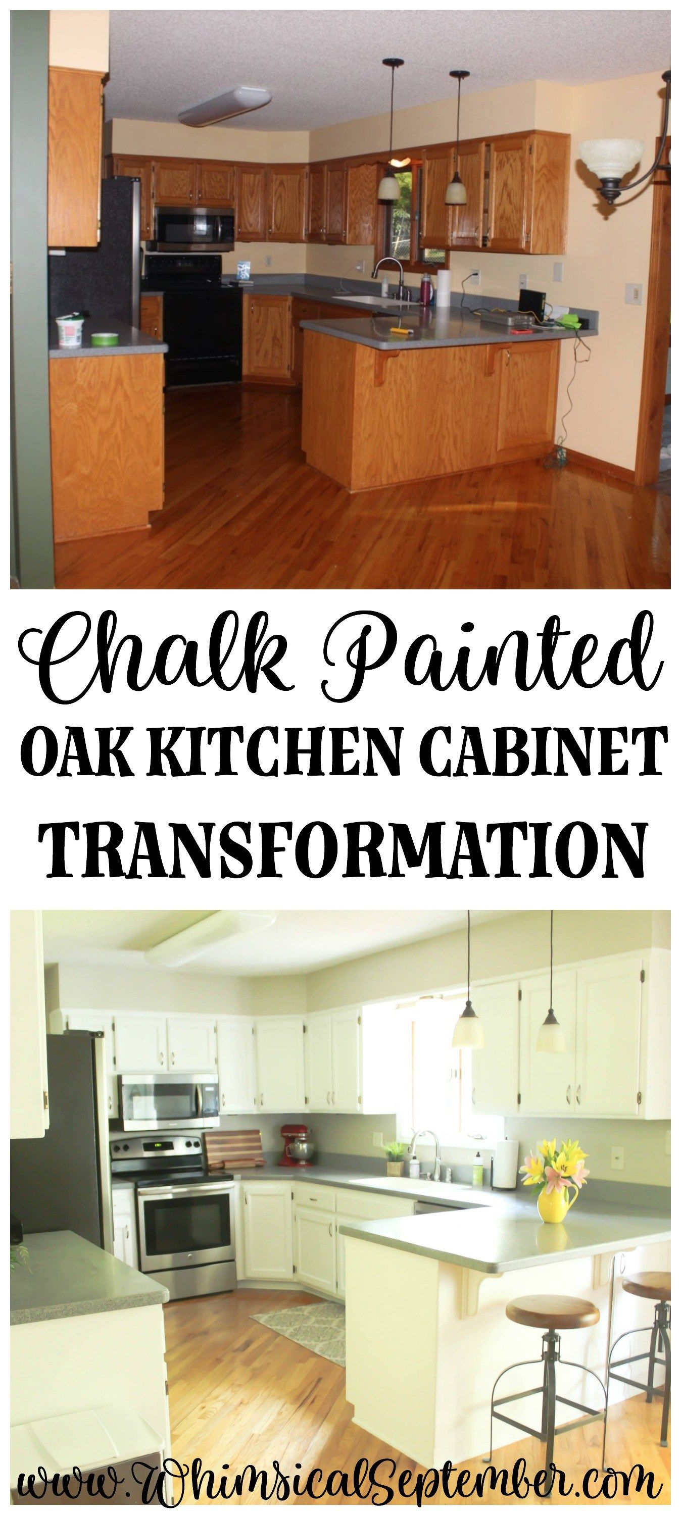 Chalk Painted Kitchen Cabinets From Honey Oak To White Chalk Paint Kitchen Chalk Paint Kitchen Cabinets Painting Kitchen Cabinets