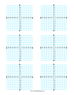 An XY axis and coordinates adorn the six 15x15 grids in ...Printable Graph Paper With Axis
