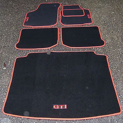 Car Mats In Black Red To Fit Vw Volkswagen Golf Mk4 Boot Mat Red Gti Logos Carpets Floor Mats Interior P Volkswagen Interior Car Mats Vw Volkswagen