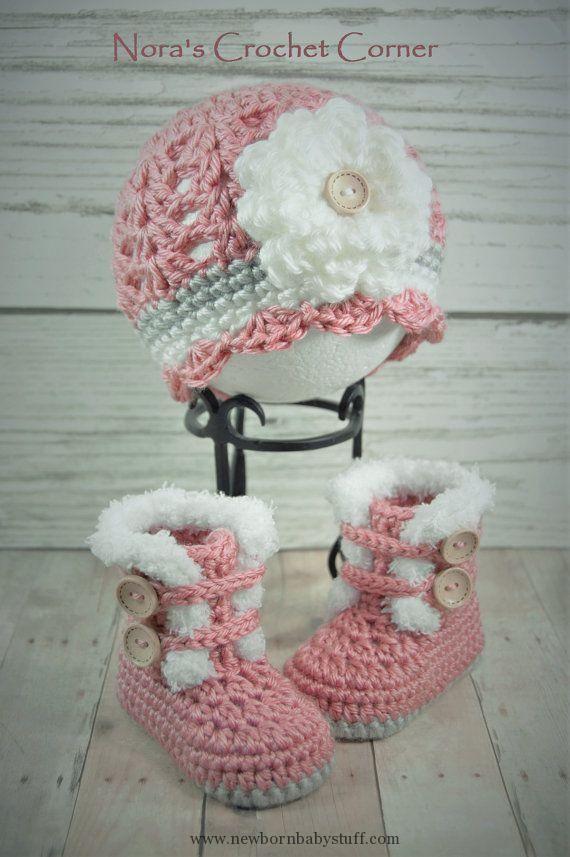 Baby Knitting Patterns Gehäkelte Baby Mädchen Pelz-Trim-Stiefel und ...