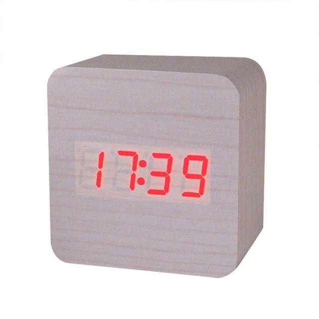 Electronic Digital LED Alarm Clock Sounds Control Calendar Temperature Desk
