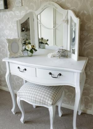 Dressing Table, Triple Mirror and Stool Bedroom Furniture Set ...
