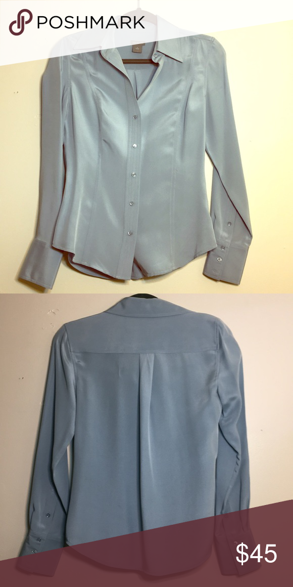 a32aa0525e866e Ann Taylor Silk Button Down Shirt NWOT A beautiful, sleek, light blue top.  100% silk. Wrinkle-resistant 👍🏼 This would look beautiful with several of  the ...