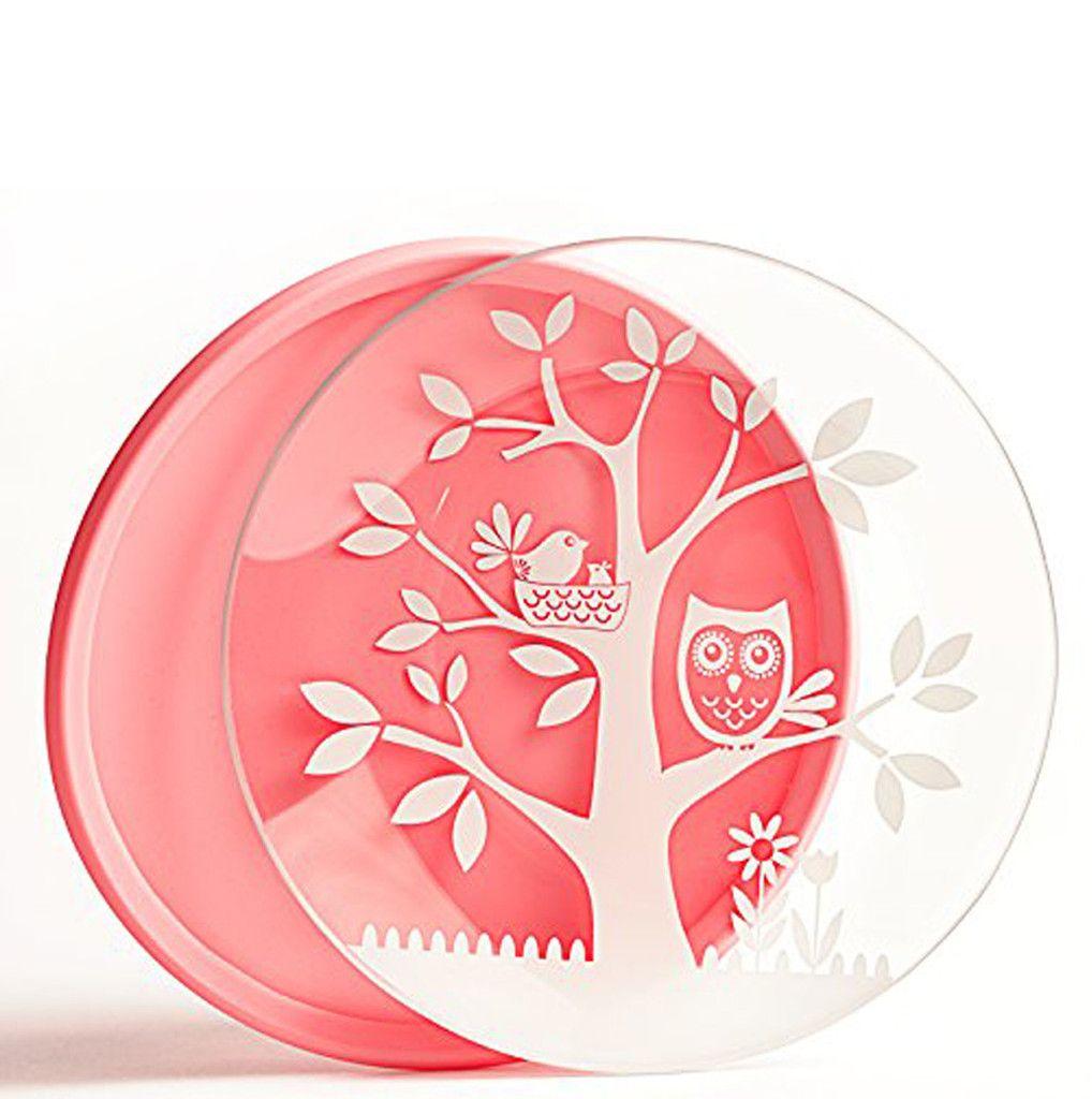 Brinware its a hoot pink plate pink plates kids plates