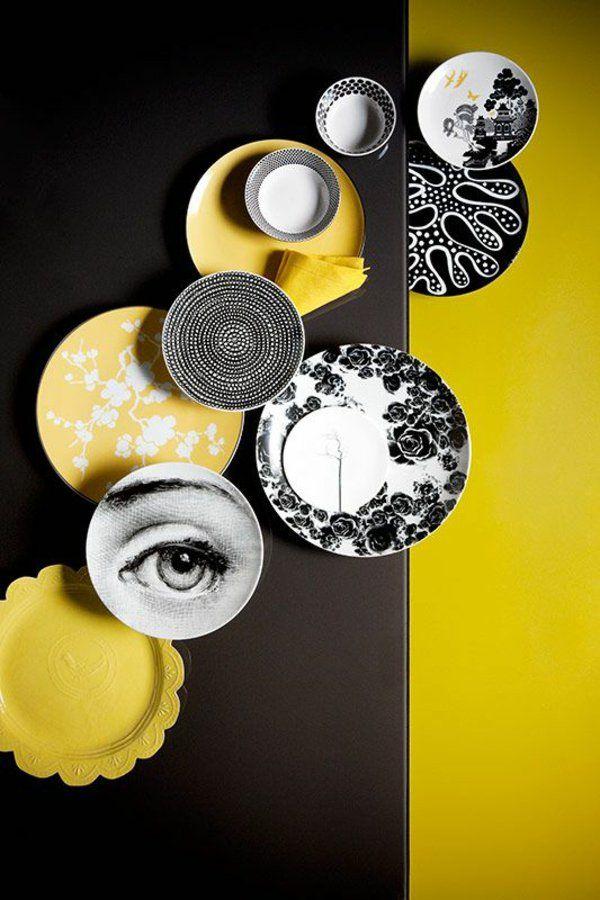 gelb schwarz wandgestaltung wohnideen wandfarben wandteller gelb - wohnzimmer gestalten gelb