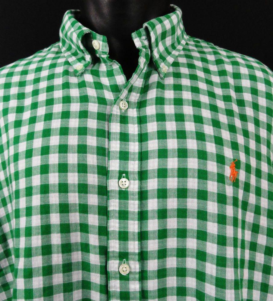 NWT Ralph Lauren Mens XXL Green/White Gingham Plaid Shirt Button Up Red Pony  LS