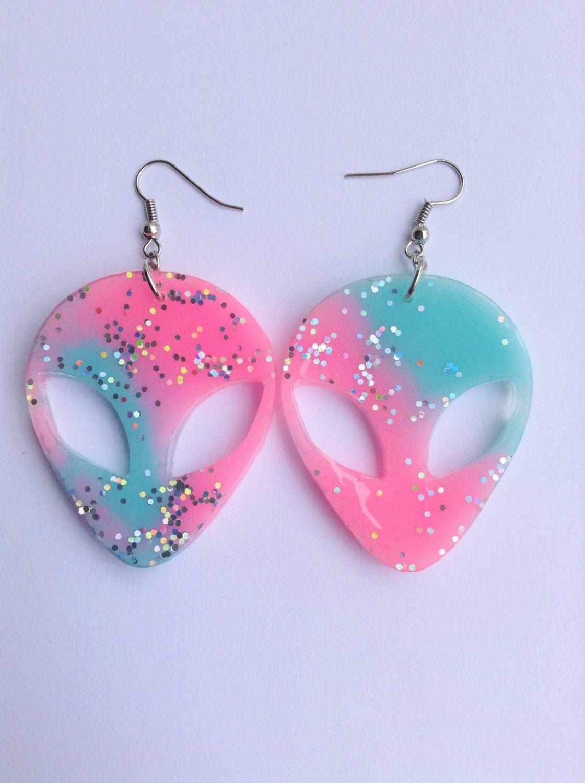 Pink Blue Glitter Kawaii Alien Drop Dangle Earrings