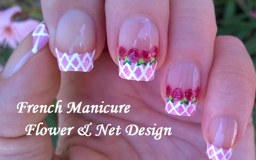 French manicure ideas - Pink & white flower #nailart with net design ...