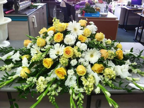 White And Yellow Casket Spray Funeral Flowers Funeral Flower Arrangements Funeral Arrangements
