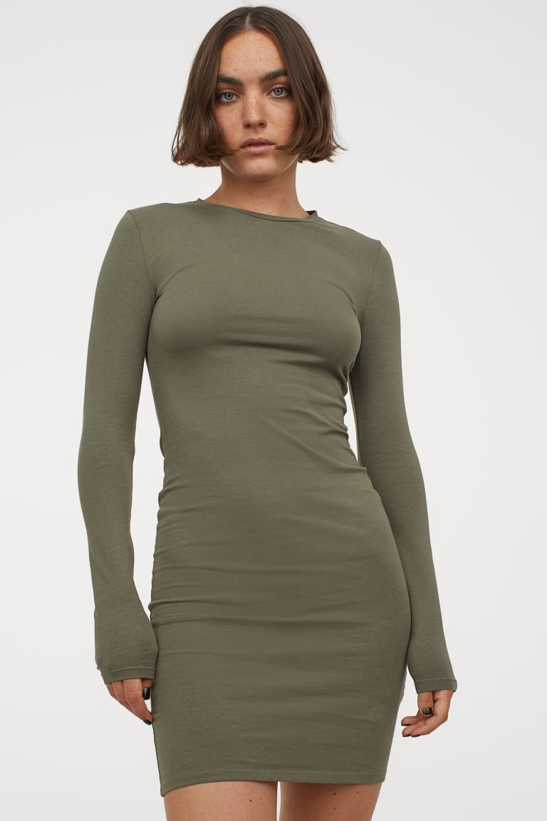 Long Sleeved Bodycon Dress Khaki Green Ladies H M Us Long Sleeve Bodycon Dress Bodycon Dress Short Fitted Dress [ 1152 x 768 Pixel ]