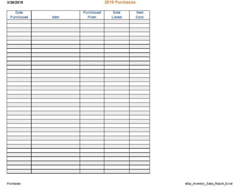 Ebay Spreadsheet Template For Purchases Inventory Sales Tracker