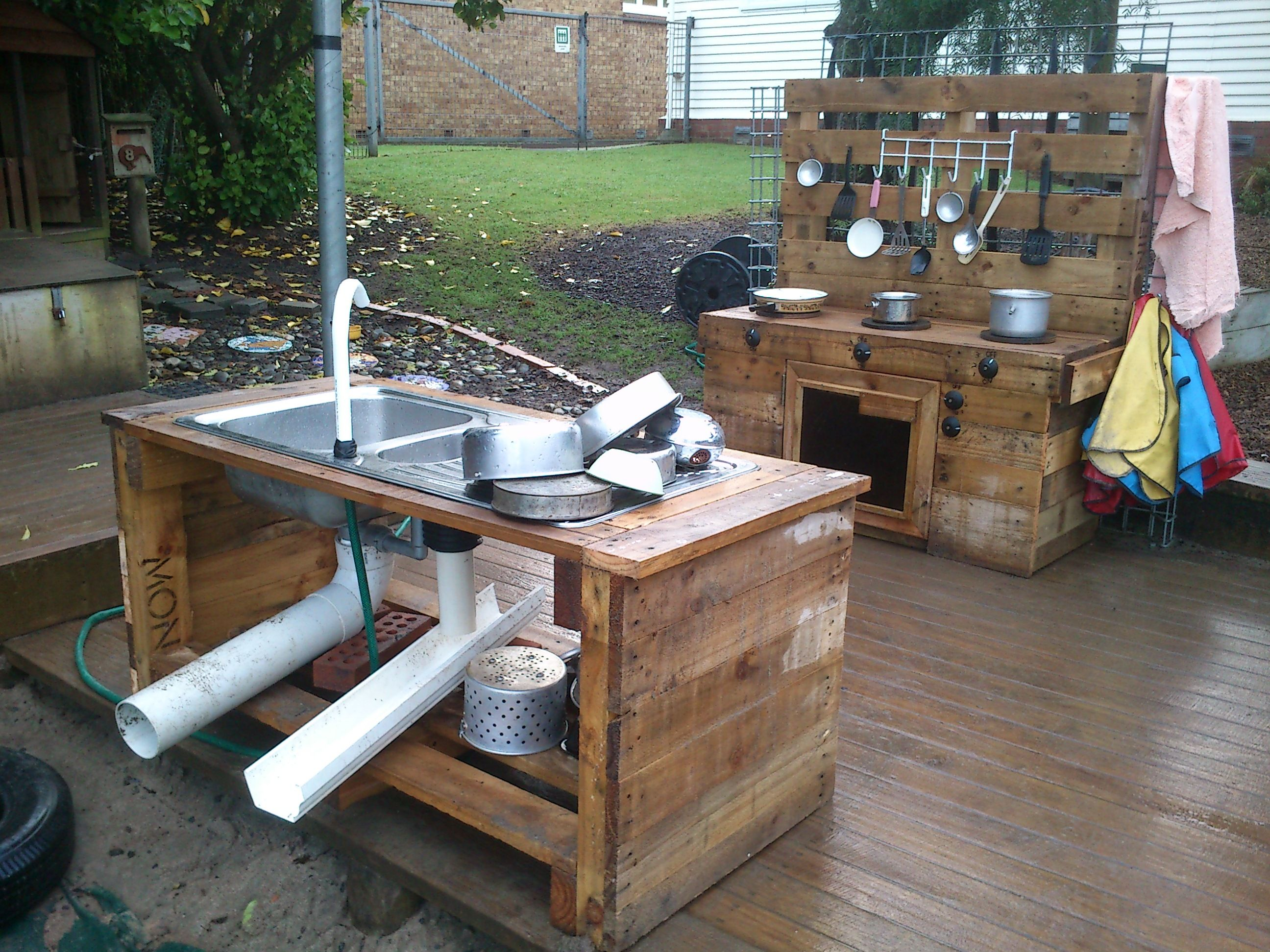 Full pallet kitchen near our sandpit my projects for Plans for outside kitchen