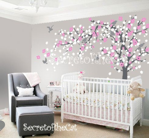Blossom Tree Decal Nursery Wall Decal Wall Decal Nursery Etsy Kindergarten Wandtattoos Kinder Zimmer Madchen Tapete